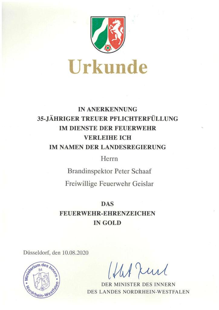 Feuerwehr Ehrenzeichen Gold_Peter Schaaf